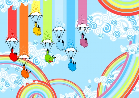 on cloud nine: Rainbow monsters with parachutes Illustration