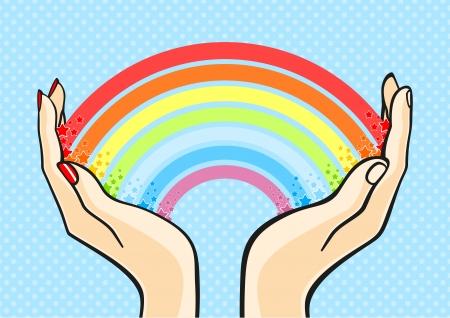 Couple holding a rainbow Vector