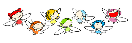 Funny kids 77 - rainbow fairies Vector