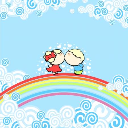cloud nine: Rainbow kiss Illustration