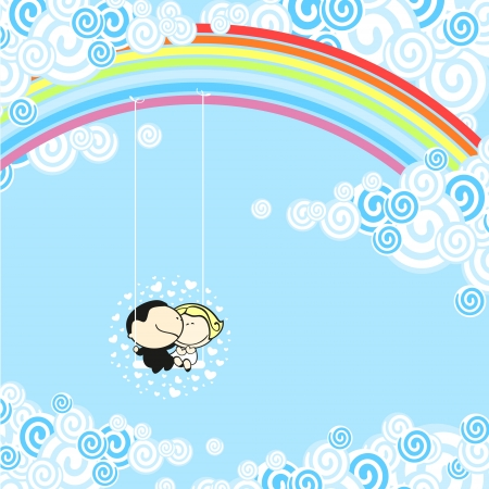 on cloud nine: Couple sitting in a rainbow swing