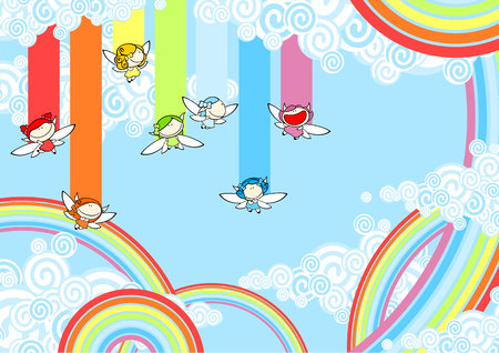 Rainbow fairies high in the sky Vector