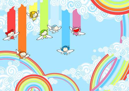 rainbow sky: Rainbow fairies high in the sky