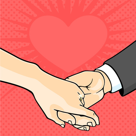 love gold: Bride and groom hands Illustration
