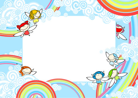 Background with rainbow fairies Vector