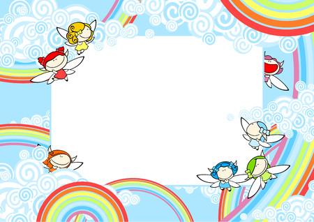 niños con pancarta: Fondo con las hadas del arco iris