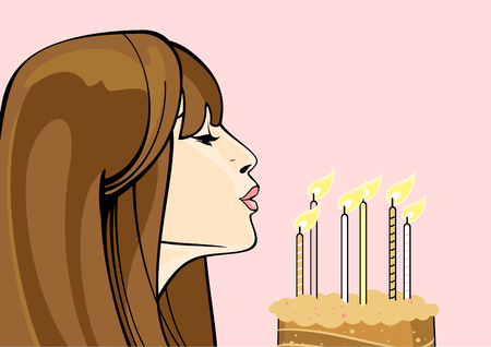 Girl with a birthday cake Vector