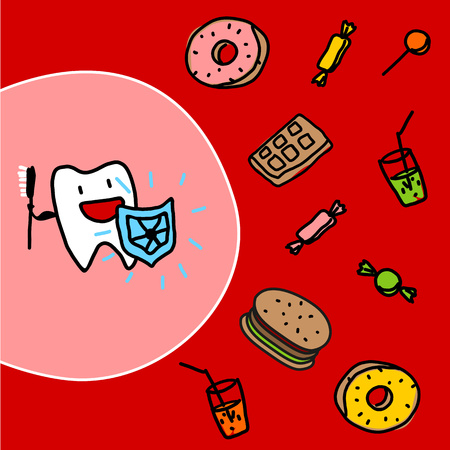 Strong tooth with a shield Vector