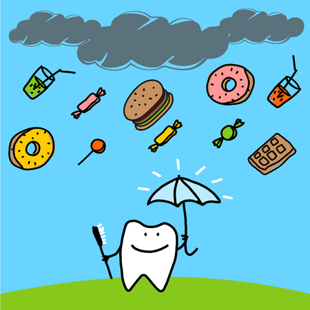 Strong tooth with an umbrella Vector