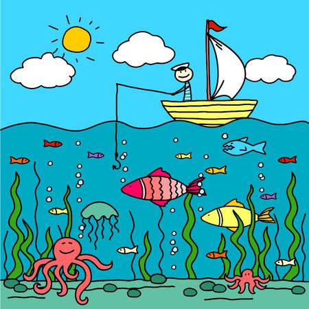 tiburon caricatura: Pesca