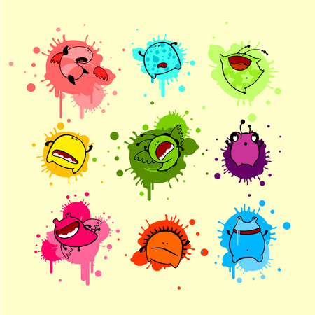 Cool colorful collection of dead monsters Vector