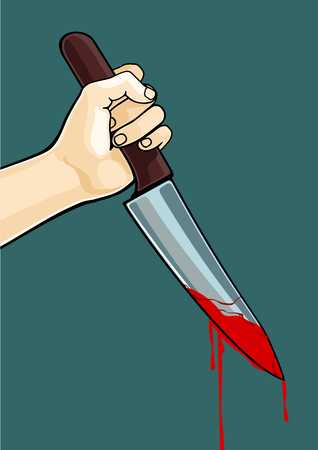 young knife: Hand with a blooded knife