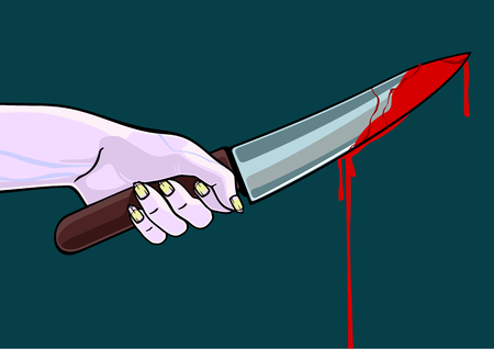 Hand of a zombie with a blooded knife Vector