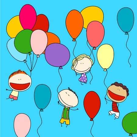 latin american boy: Kids with balloons