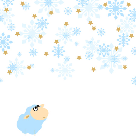 enjoyment: Funny sheep - the symbol of the year 2015 - looking at snowfall with enjoyment and smile
