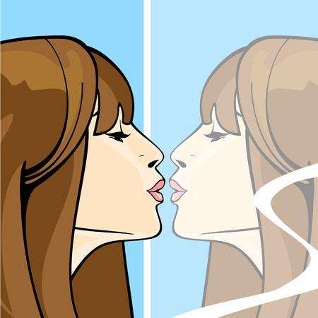 鏡で彼女自身の反射をキス ブルネットの少女の肖像画