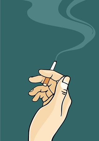 cigarette: Hand of a man holding a cigarette Illustration
