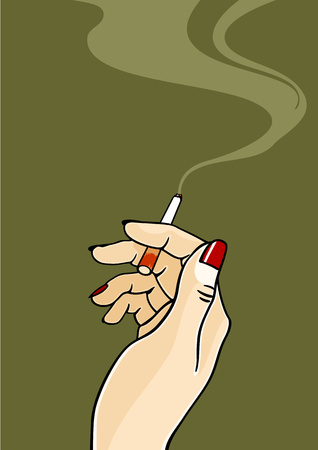 women smoking: Hand of a woman holding a cigarette