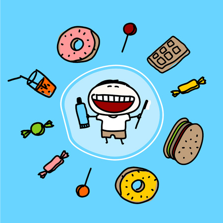 kid vector: Dientes fuertes Vectores