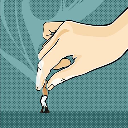hand cartoon: Stop smoking!