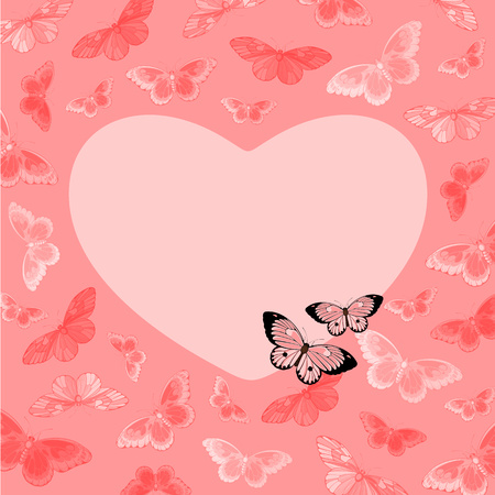 heart with wings: Valentine Day card with butterflies
