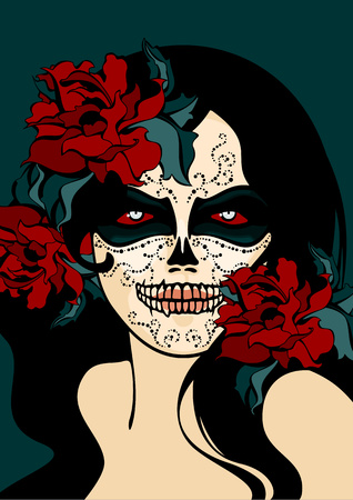 Woman with sugar skull face paint Illustration