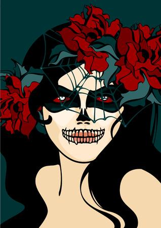 veil: Woman with skull makeup and cobweb veil