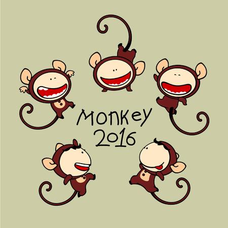 brat: Set of images of funny kids 80, Monkey Zodiac sign