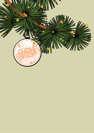 pink christmas: Background with a branch of a decorated Christmas tree