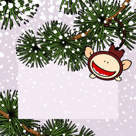 new year greeting: New Year greeting card with the Monkey