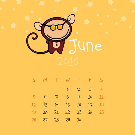 asian man smiling: Calendar for the year 2016 - June