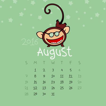 prank: Calendar for the year 2016 - August
