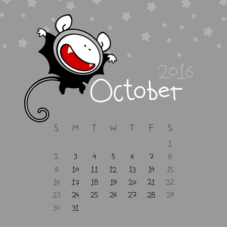 october: Calendar for the year 2016 - October