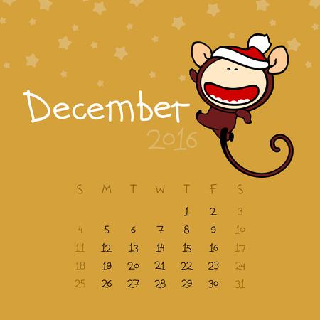 asian man smiling: Calendar for the year 2016 - December