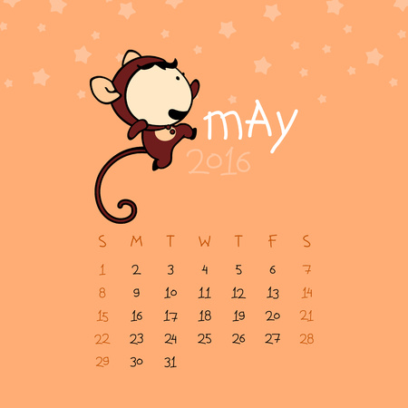 may: Calendar for the year 2016 - May