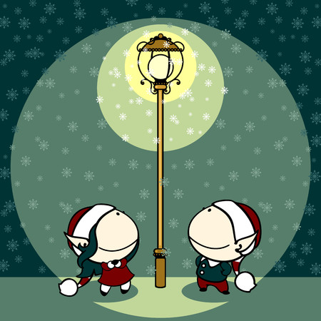 dark elf: Couple of fairies looking at snowflakes falling in a light of a lamppost