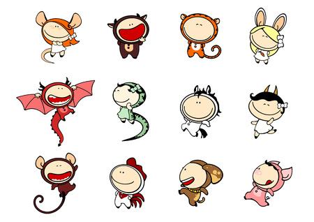 rata caricatura: Conjunto de imágenes de niños divertidos, 81 signos del zodíaco