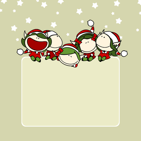 faery: Christmas background with a group of fairy girls