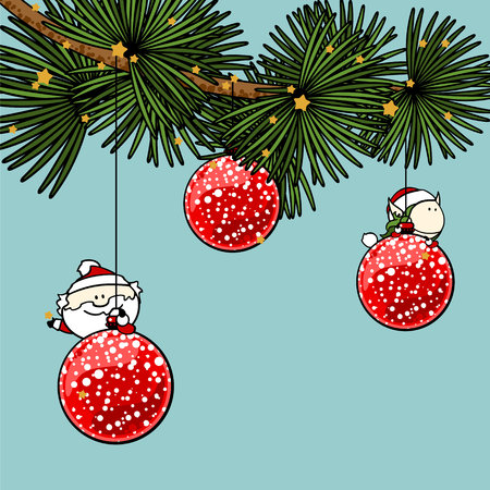 pixie: Branch of a decorated Christmas tree with cute tiny Santa Claus and fairy girl