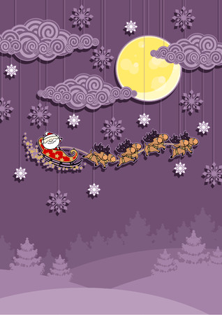 purple stars: Christmas card with Santa Claus in his sledge over the night winter forest