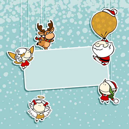 angel white: Christmas card with Santa Claus, reindeer, fairies and angel
