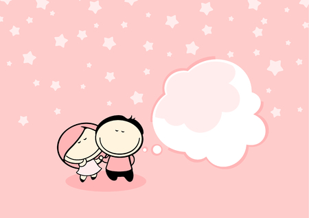 happy couple: Valentine card with a cute dreaming couple Illustration
