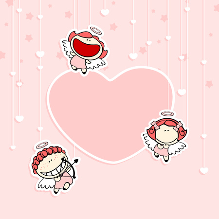 cartoon window: Valentine card with cute cupids