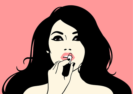 make up applying: Girl with a lipstick Illustration