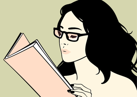reads: Beautiful brunette girl in glasses reading a book