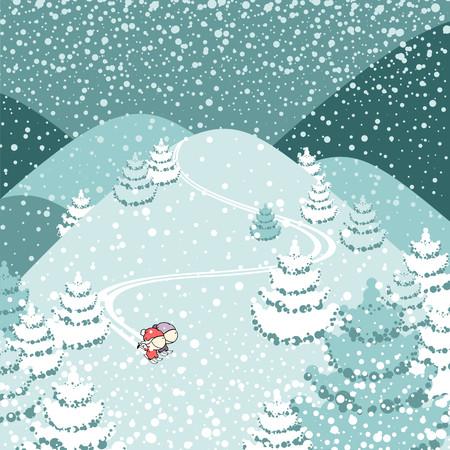 cartoon man: Cute couple of skiers