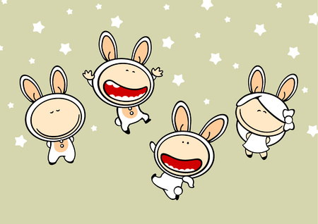 chinese new year rabbit: Set of images of funny kids, white bunny theme