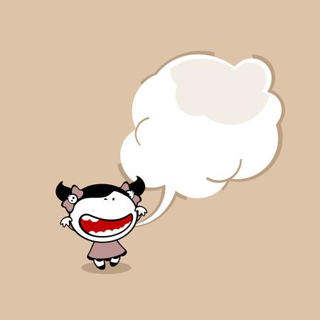 Kaart met een schattig klein griezelig meisje