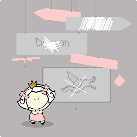 vandal: Little princess celebrating death of a dragon Illustration