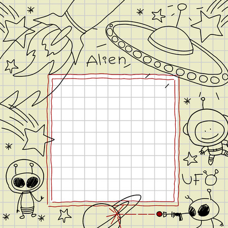 space cartoon: Child drawings of space and aliens in a notebook